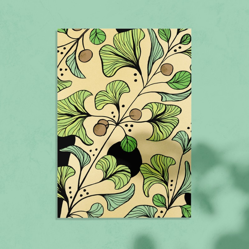 carte postale avec illustration de ginkgo biloba sur fond vert
