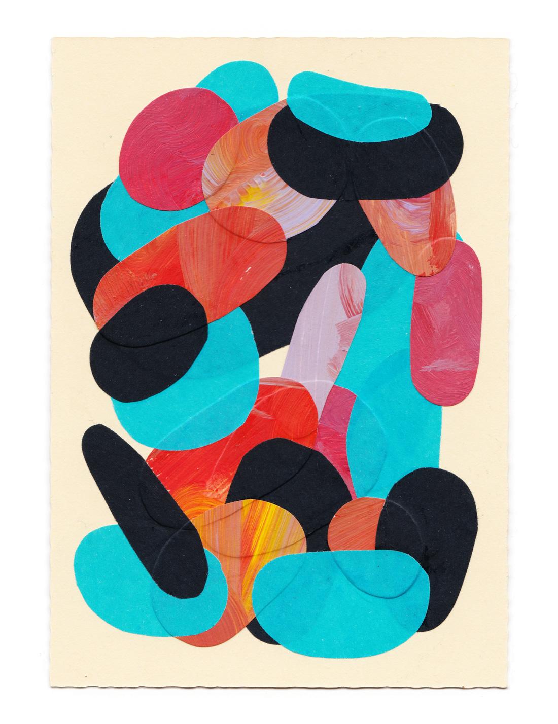Petit collage de papier et peinture coloré orange rouge et noir sur fond jaune format A5
