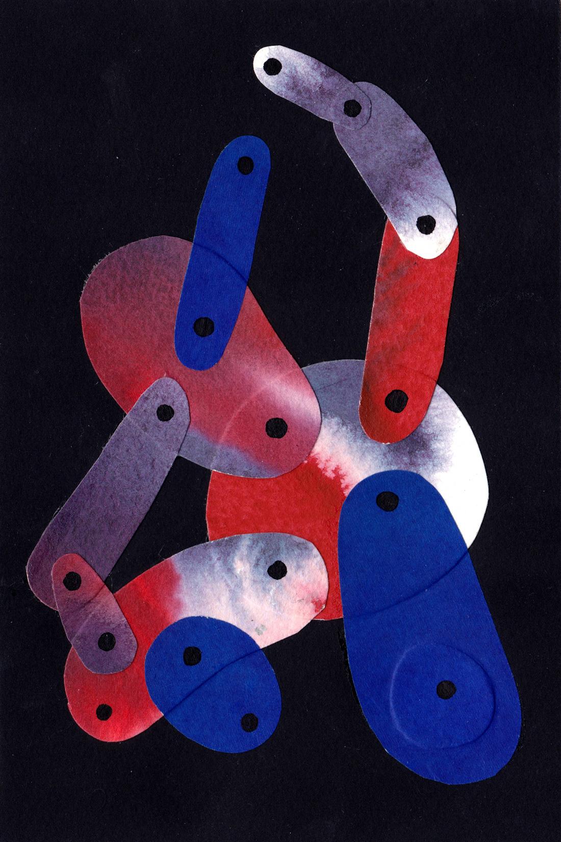 Petit collage de papier et peinture bleu et rouge sur fond noir format A6