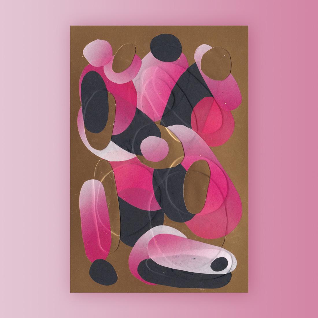 Petit collage de papier rose et or sur fond doré format A6