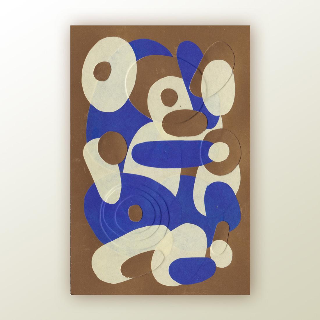 Petit collage de papier bleu et jaune sur fond doré format A6